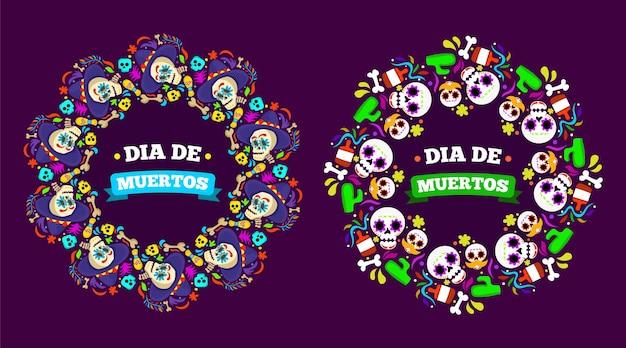 평면 디자인 dia de muertos 축제 프레임 배경 그림