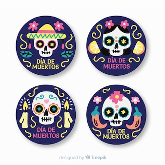 Flat design día de muertos label collection