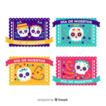 Flat design día de muertos label collection