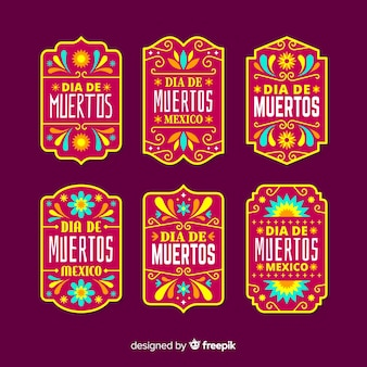Flat design dia de muertos label collection
