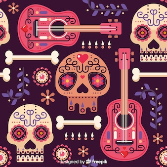 Flat design of dia de muertos pattern
