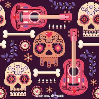 Flat design of dia de muertos pattern