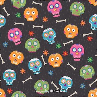 Flat design of of dia de muertos pattern