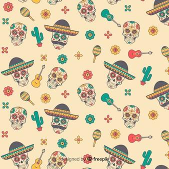 Dia de muertos 패턴의 평면 디자인