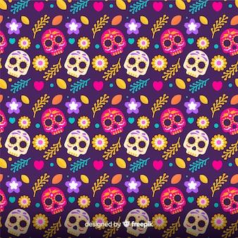 Flat design día de muertos pattern