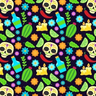 Flat design dia de muertos pattern
