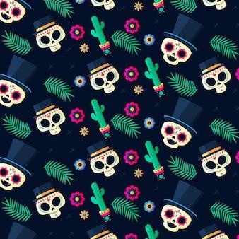평면 디자인 dia de muertos 패턴