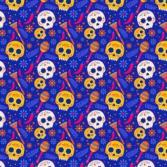 Плоский дизайн dia de muertos шаблон