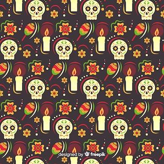 Flat design of dia de muertos pettern