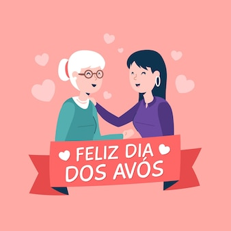 Flat design dia dos avós illustration with mother and daughter