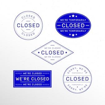 Набор различных закрытых печатей в плоском дизайне