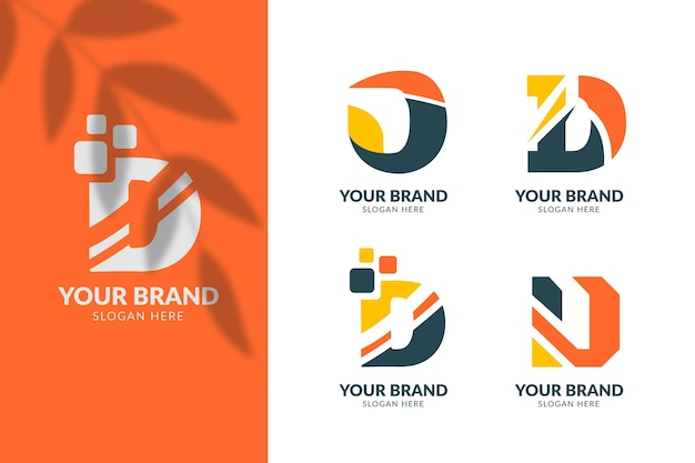 Flat design different d logos collection
