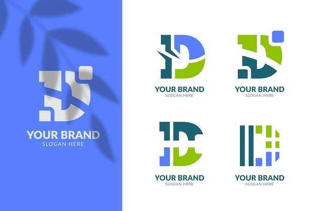 Flat design different d logos pack