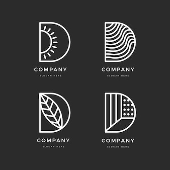 Flat design different d logos set