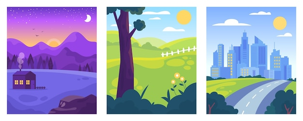 Flat design different landscape illustration pack