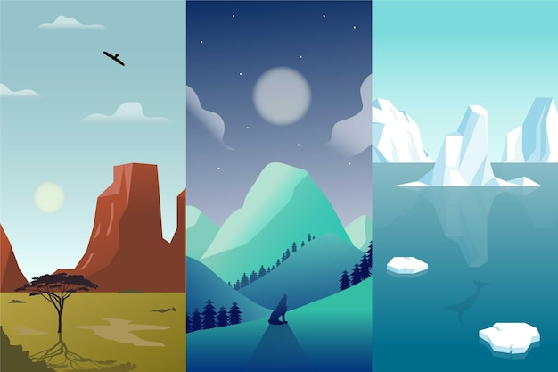 Flat design different landscape set