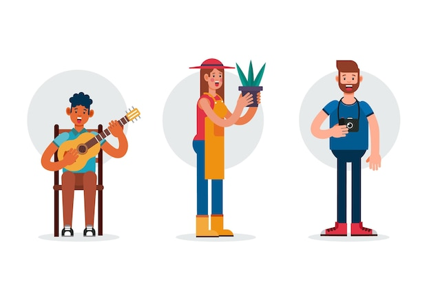 Flat design different people with hobbies