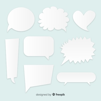 Flat design different speech bubbles set in paper style