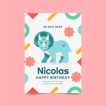 フラットデザインの恐竜の誕生日の招待状