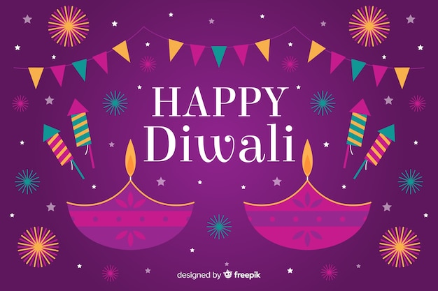 Flat design diwali background with candles