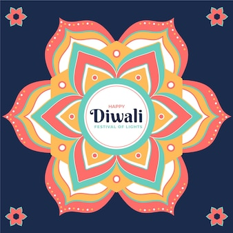 Flat design diwali background with mandala and flowers