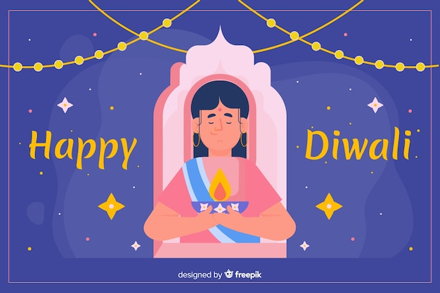 Flat design of diwali background with a woman
