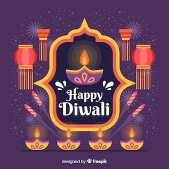 Flat design of diwali background