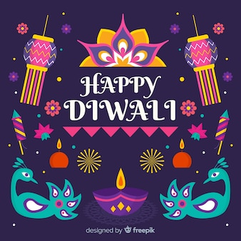 Flat design of diwali background