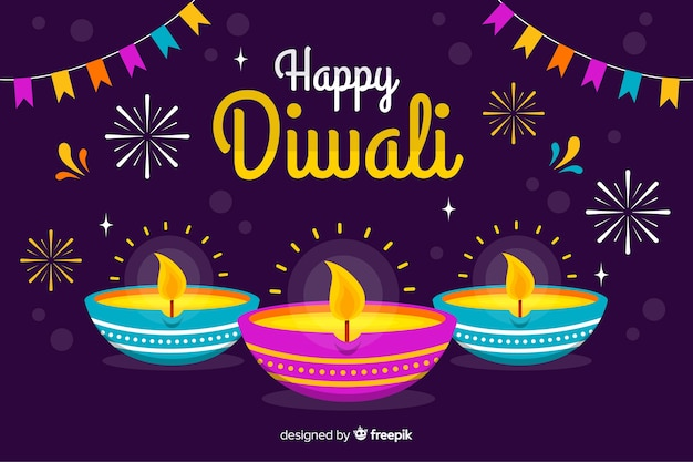 Flat design diwali background