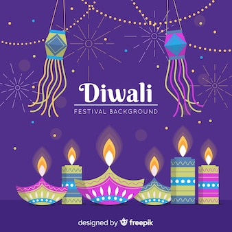 Flat design diwali background