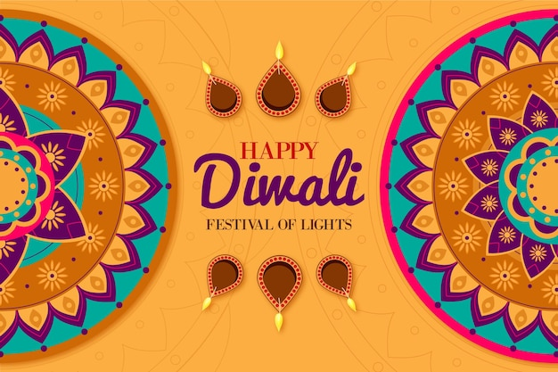 Flat design diwali cultural event