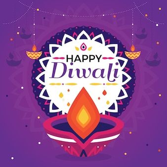 Flat design diwali event with candle