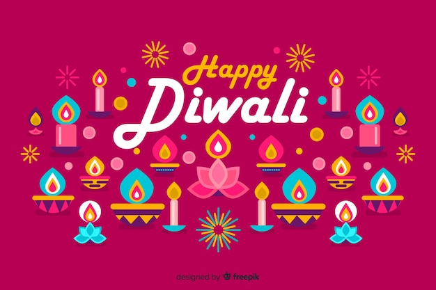 Flat design diwali festival background