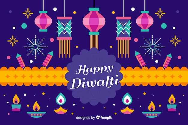 Flat design diwali festive background with ribbon