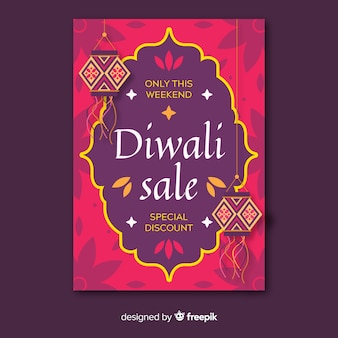 Flat design of diwali flyer template