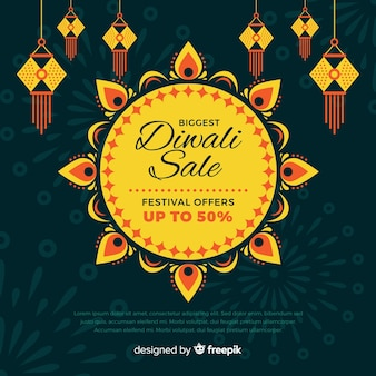 Flat design diwali holiday sale banner