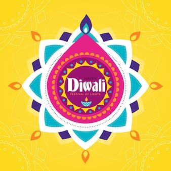 Flat design diwali religious event