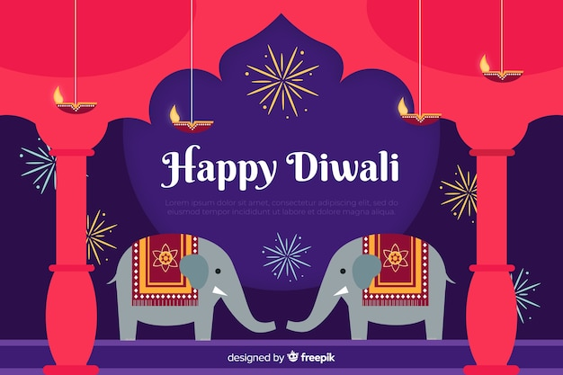 Flat design diwali sale background