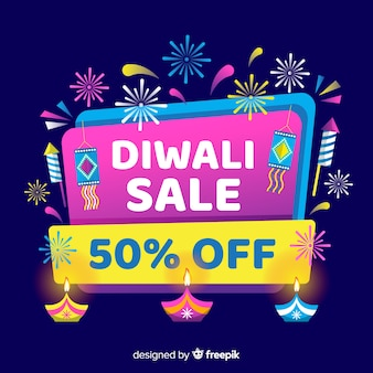 Flat design of diwali sale and fireworks