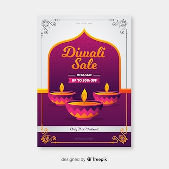 Flat design of diwali sale flyer template