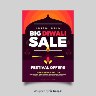 Flat design of diwali sale flyer template