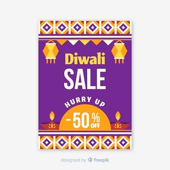 Flat design diwali sale flyer template