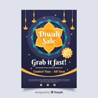 Flat design diwali sale flyer template