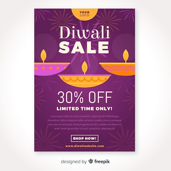 Flat design of diwali sale poster template