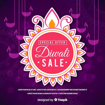 Flat design of diwali sale special offer