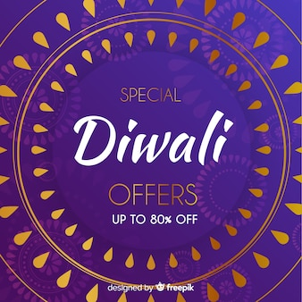 Flat design of diwali sale with gradient