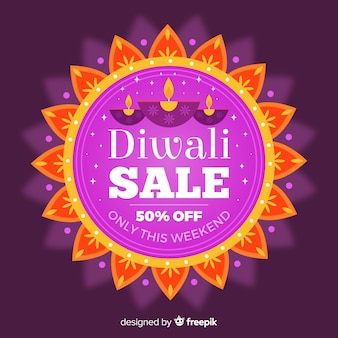 Flat design diwali sale
