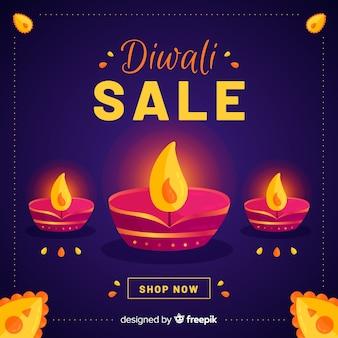 Flat design of diwali sale