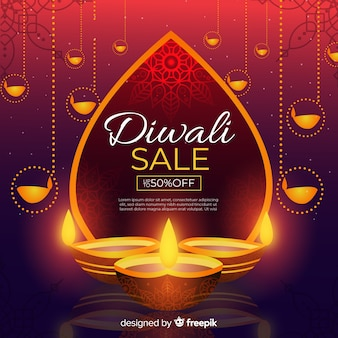 Flat design of diwali sale