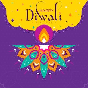 Flat design diwali traditional event